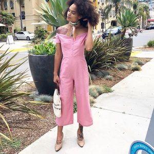 Linen Pink Off Shoulder Cropped Pants Jumpsuit